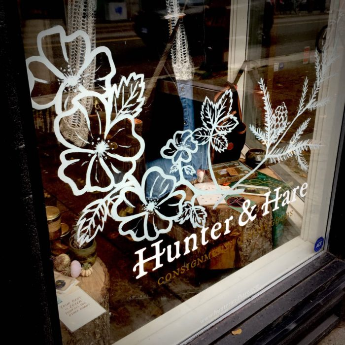 Hunter & Hare and floral decoration on store window